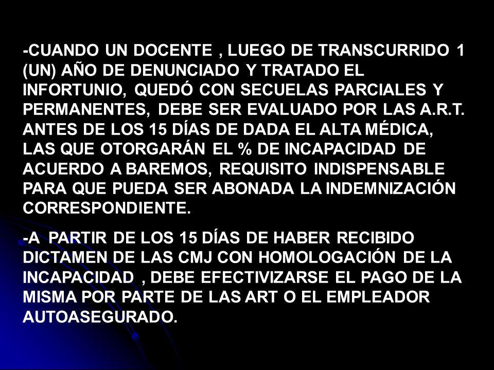 -CUANDO UN DOCENTE, LUEGO DE TRANSCURRIDO 1 (UN) AÑO DE DENUNCIADO Y TRATADO EL INFORTUNIO, QUEDÓ CON SECUELAS PARCIALES Y PERMANENTES, DEBE SER EVALU