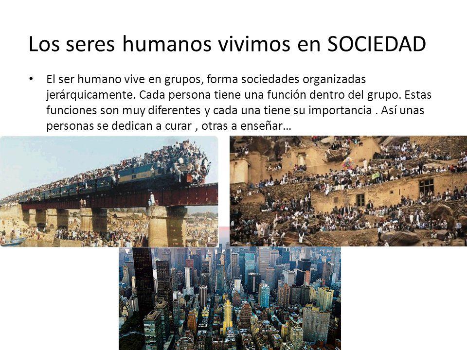 Los seres humanos vivimos en SOCIEDAD El ser humano vive en grupos, forma sociedades organizadas jerárquicamente. Cada persona tiene una función dentr