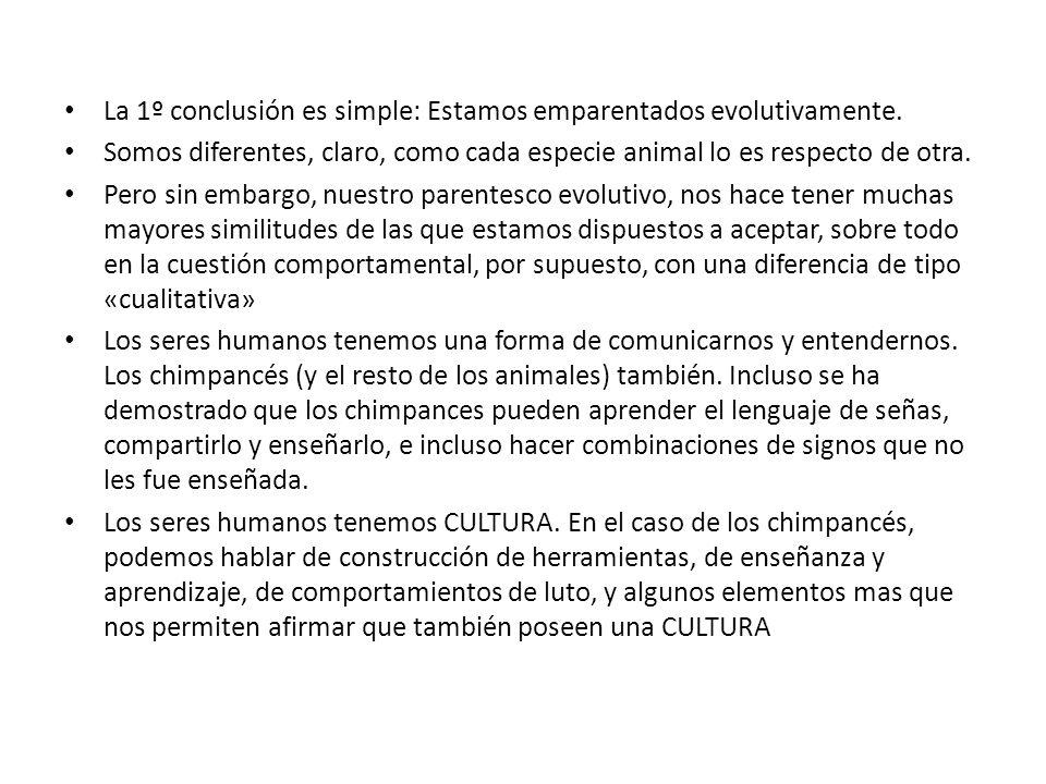 La 1º conclusión es simple: Estamos emparentados evolutivamente. Somos diferentes, claro, como cada especie animal lo es respecto de otra. Pero sin em