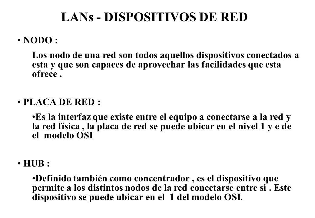 LANs - DISPOSITIVOS DE RED NODO : Los nodo de una red son todos aquellos dispositivos conectados a esta y que son capaces de aprovechar las facilidade
