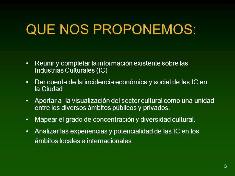 3 QUE NOS PROPONEMOS: Reunir y completar la información existente sobre las Industrias Culturales (IC) Dar cuenta de la incidencia económica y social