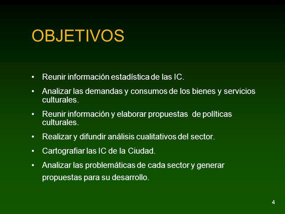 4 OBJETIVOS Reunir información estadística de las IC. Analizar las demandas y consumos de los bienes y servicios culturales. Reunir información y elab