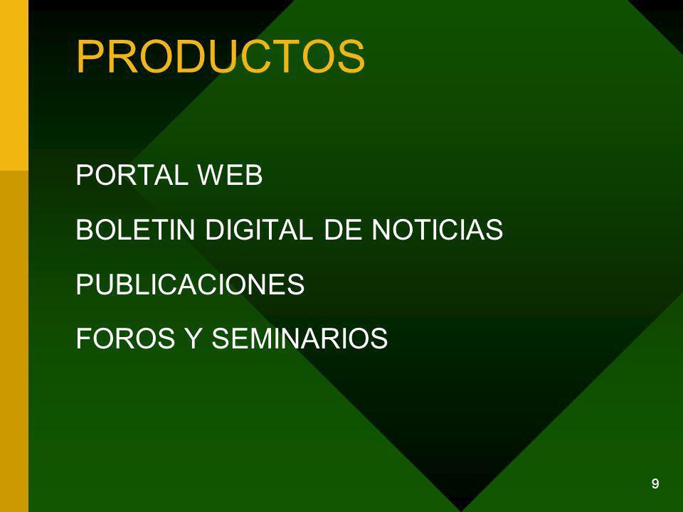 9 PRODUCTOS PORTAL WEB BOLETIN DIGITAL DE NOTICIAS PUBLICACIONES FOROS Y SEMINARIOS
