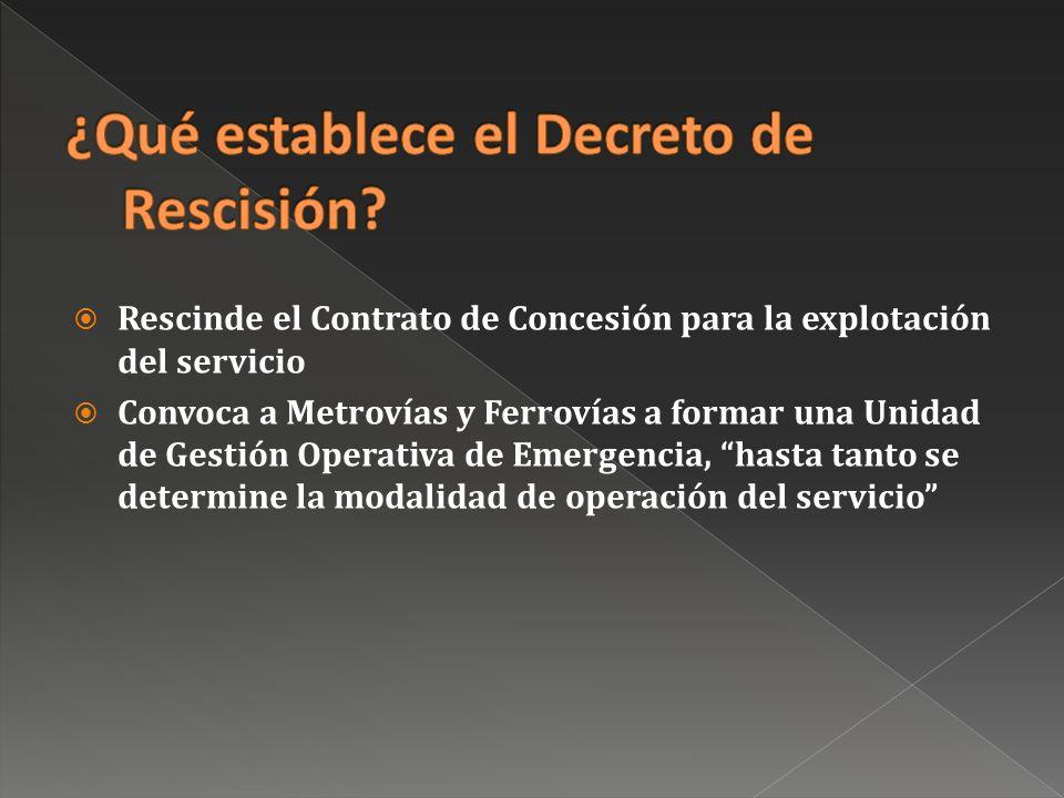 Rescinde el Contrato de Concesión para la explotación del servicio Convoca a Metrovías y Ferrovías a formar una Unidad de Gestión Operativa de Emergencia, hasta tanto se determine la modalidad de operación del servicio