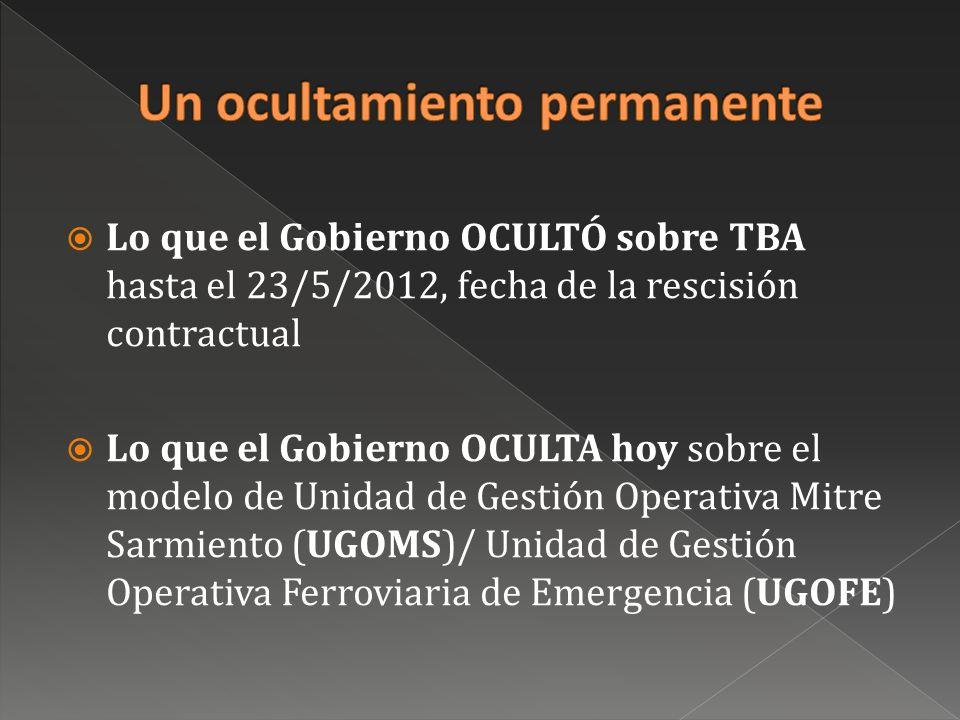 Lo que el Gobierno OCULTÓ sobre TBA hasta el 23/5/2012, fecha de la rescisión contractual Lo que el Gobierno OCULTA hoy sobre el modelo de Unidad de Gestión Operativa Mitre Sarmiento (UGOMS)/ Unidad de Gestión Operativa Ferroviaria de Emergencia (UGOFE)