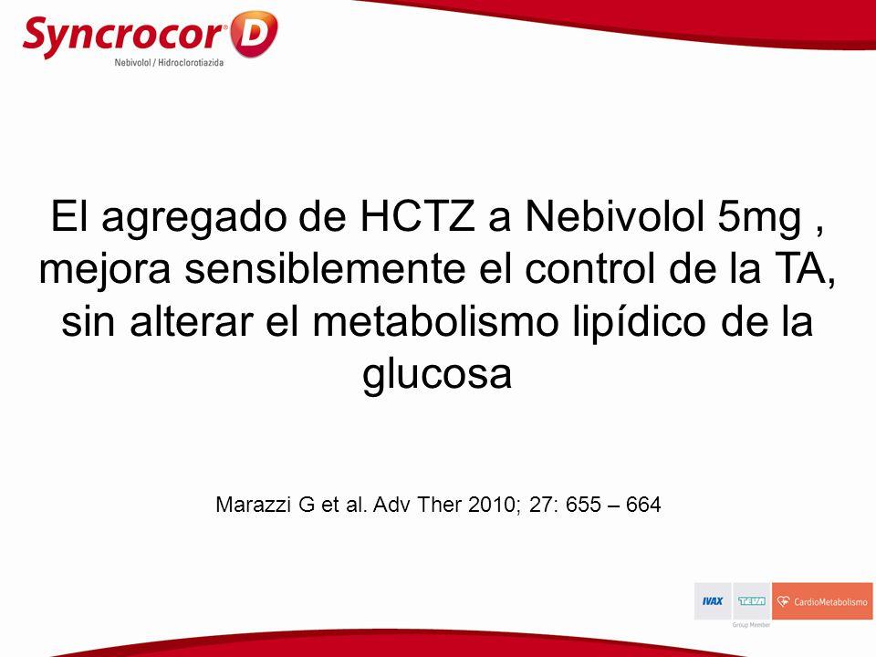 El agregado de HCTZ a Nebivolol 5mg, mejora sensiblemente el control de la TA, sin alterar el metabolismo lipídico de la glucosa Marazzi G et al. Adv