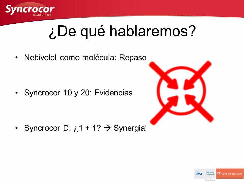 ¿De qué hablaremos? Nebivolol como molécula: Repaso Syncrocor 10 y 20: Evidencias Syncrocor D: ¿1 + 1? Synergia!