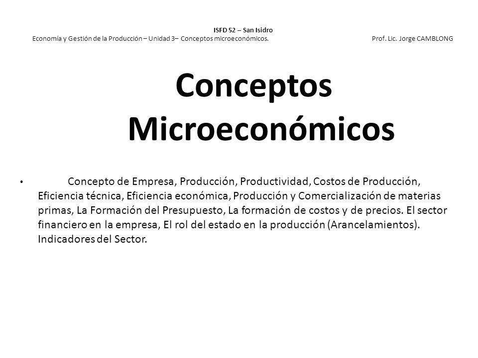 ISFD 52 – San Isidro Economía y Gestión de la Producción – Unidad 3– Conceptos microeconómicos. Prof. Lic. Jorge CAMBLONG Concepto de Empresa, Producc