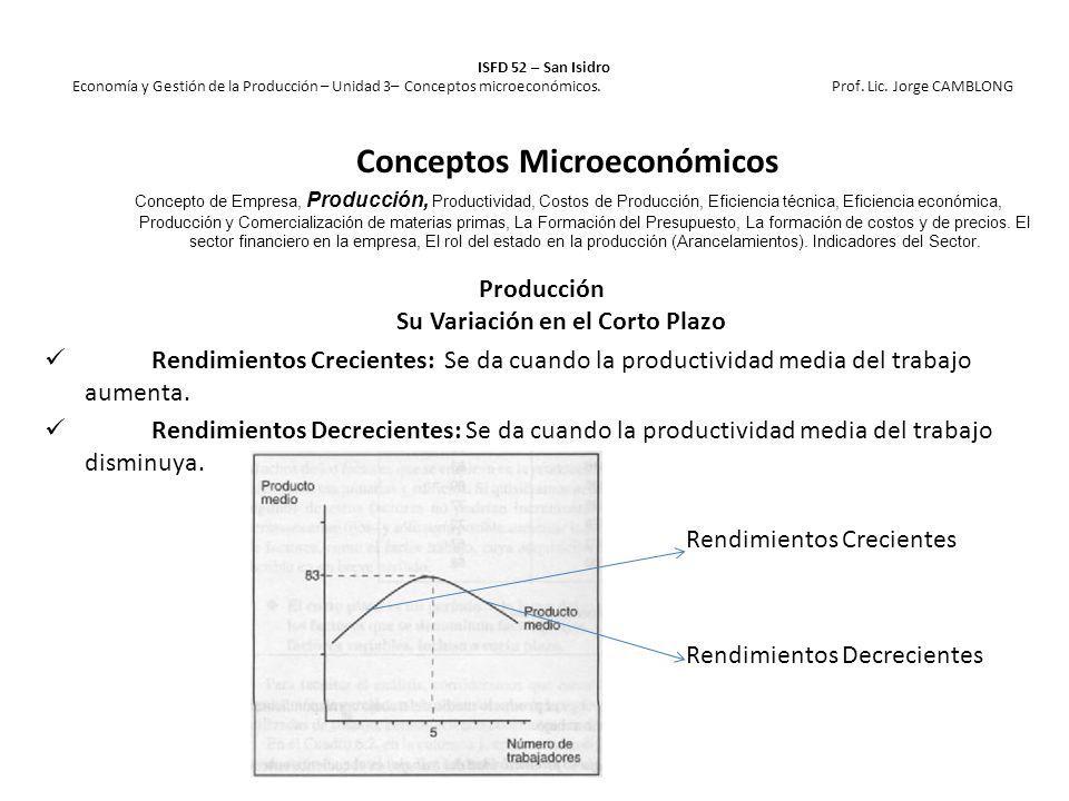 ISFD 52 – San Isidro Economía y Gestión de la Producción – Unidad 3– Conceptos microeconómicos. Prof. Lic. Jorge CAMBLONG Producción Su Variación en e