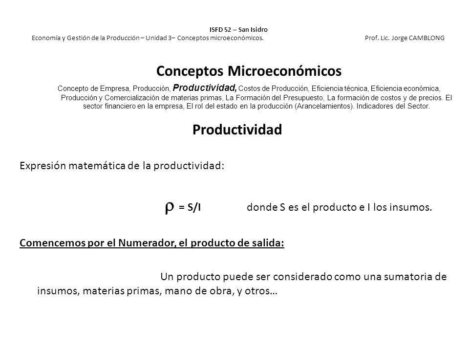 Productividad Expresión matemática de la productividad: = S/I donde S es el producto e I los insumos. Comencemos por el Numerador, el producto de sali