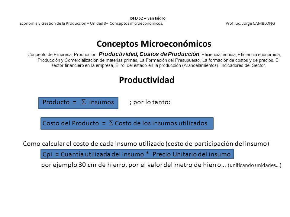 Productividad Producto = insumos ; por lo tanto: Costo del Producto = Costo de los insumos utilizados Como calcular el costo de cada insumo utilizado