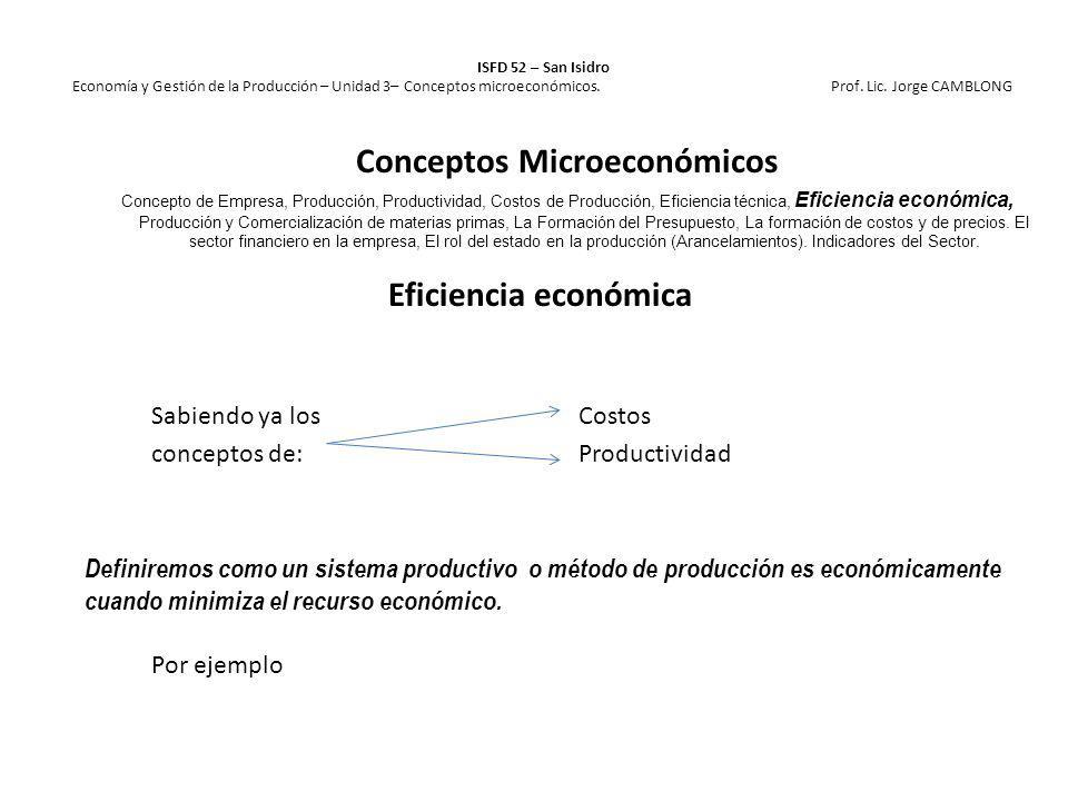Eficiencia económica Sabiendo ya losCostos conceptos de:Productividad Definiremos como un sistema productivo o método de producción es económicamente