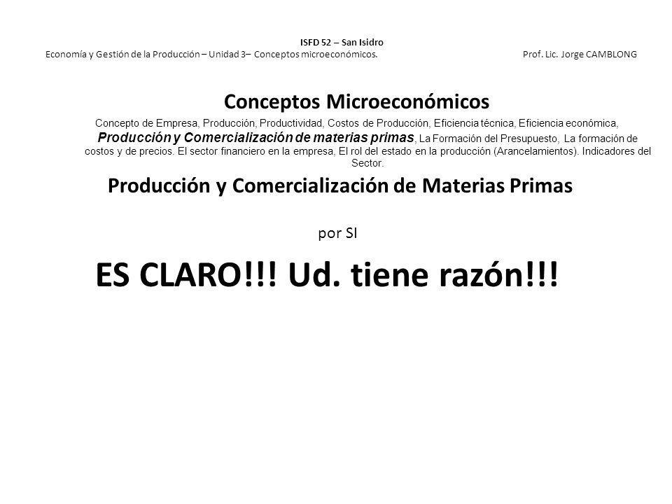 Producción y Comercialización de Materias Primas por SI ES CLARO!!! Ud. tiene razón!!! ISFD 52 – San Isidro Economía y Gestión de la Producción – Unid