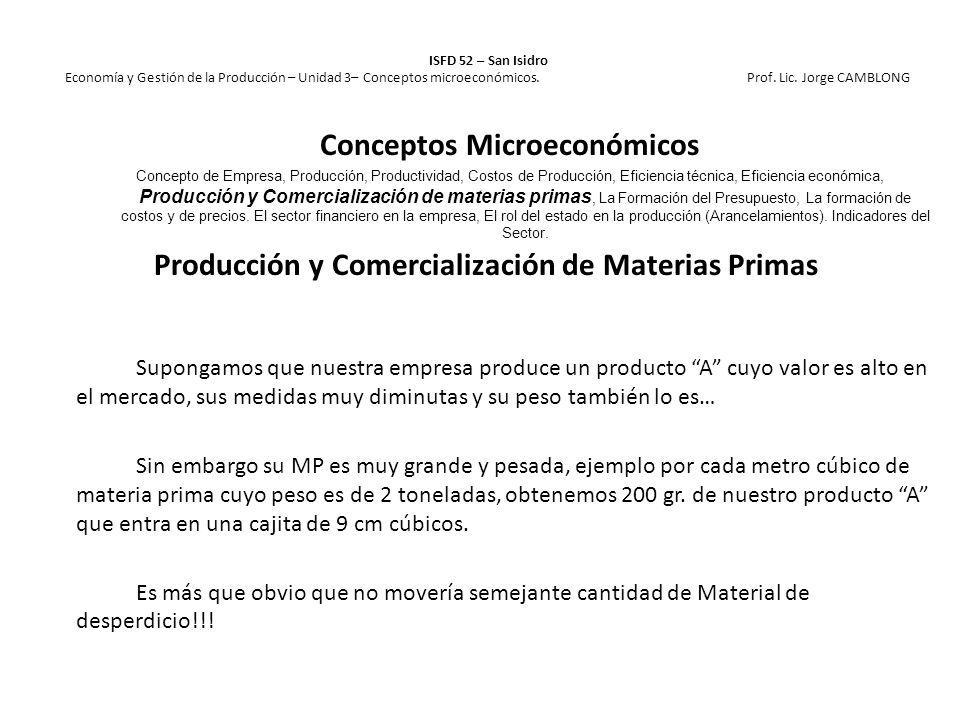 Producción y Comercialización de Materias Primas Supongamos que nuestra empresa produce un producto A cuyo valor es alto en el mercado, sus medidas mu
