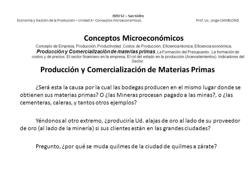 Producción y Comercialización de Materias Primas ¿Será esta la causa por la cual las bodegas producen en el mismo lugar donde se obtienen sus materias