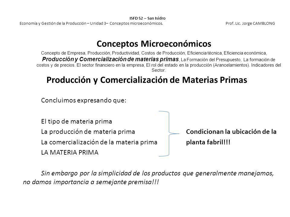 Producción y Comercialización de Materias Primas Concluimos expresando que: El tipo de materia prima La producción de materia primaCondicionan la ubic