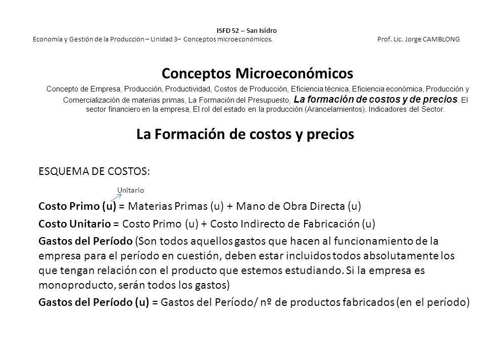 La Formación de costos y precios ESQUEMA DE COSTOS: Unitario Costo Primo (u) = Materias Primas (u) + Mano de Obra Directa (u) Costo Unitario = Costo P