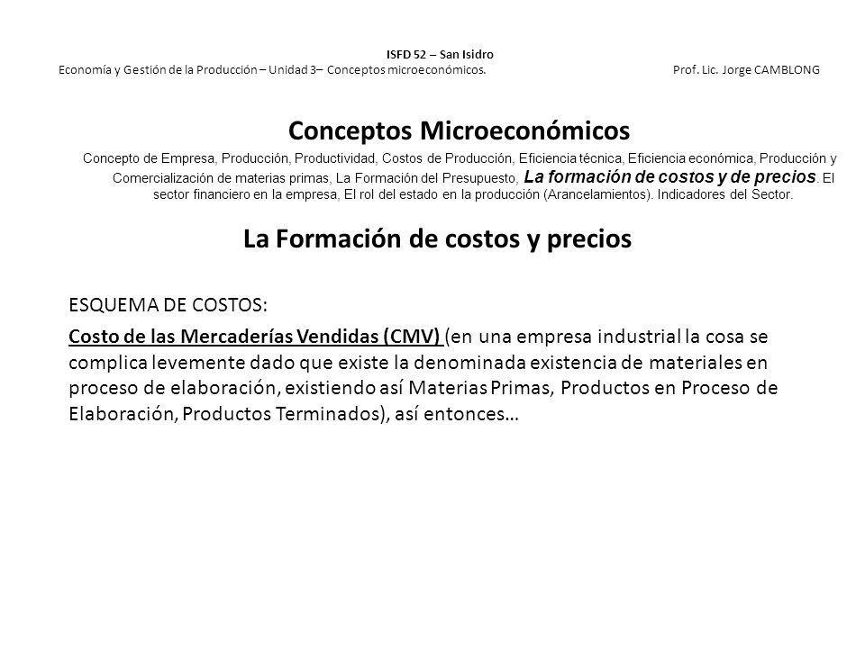 La Formación de costos y precios ESQUEMA DE COSTOS: Costo de las Mercaderías Vendidas (CMV) (en una empresa industrial la cosa se complica levemente d