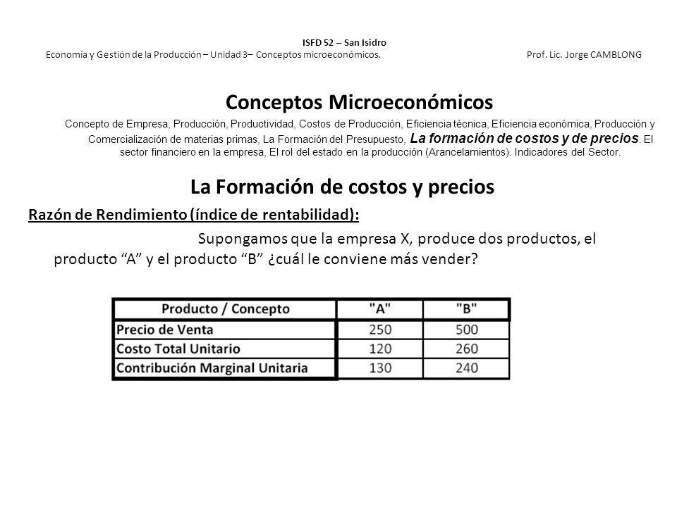 La Formación de costos y precios Razón de Rendimiento (índice de rentabilidad): Supongamos que la empresa X, produce dos productos, el producto A y el