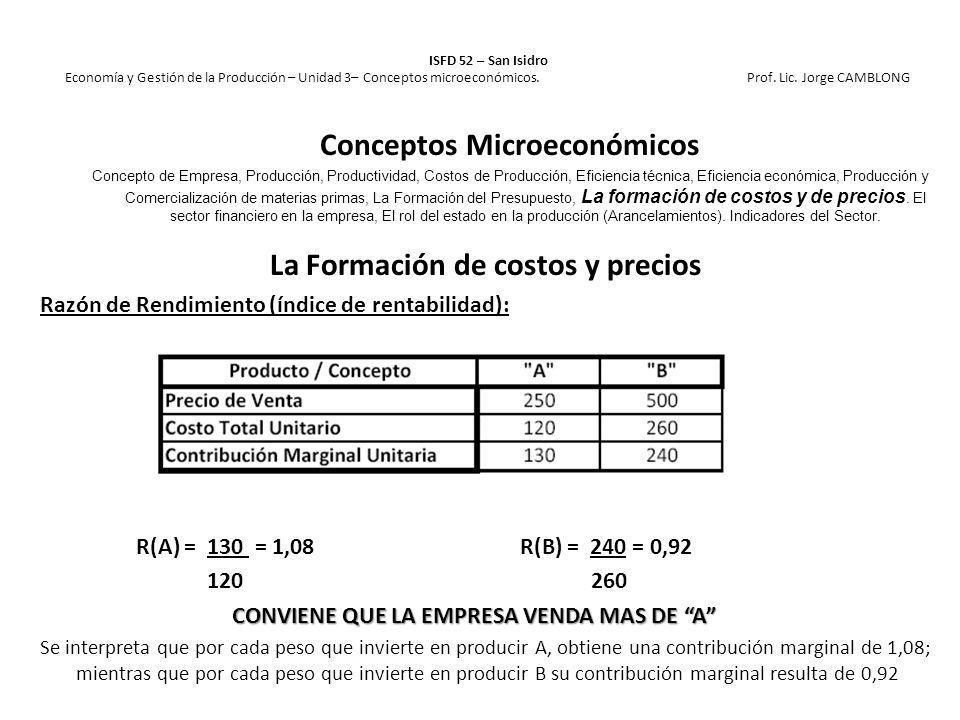 La Formación de costos y precios Razón de Rendimiento (índice de rentabilidad): R(A) = 130 = 1,08R(B) = 240 = 0,92 120 260 CONVIENE QUE LA EMPRESA VEN