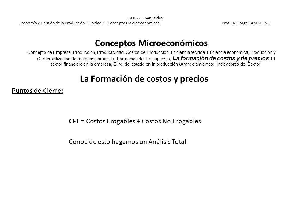 La Formación de costos y precios Puntos de Cierre: CFT = Costos Erogables + Costos No Erogables Conocido esto hagamos un Análisis Total ISFD 52 – San