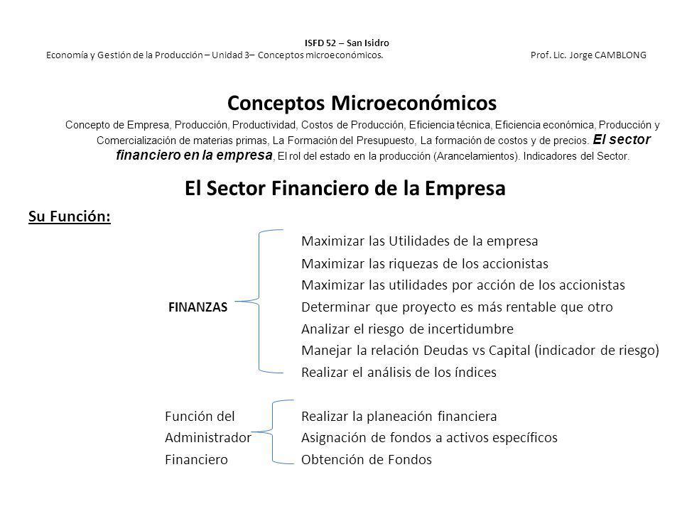 El Sector Financiero de la Empresa Su Función: Maximizar las Utilidades de la empresa Maximizar las riquezas de los accionistas Maximizar las utilidad