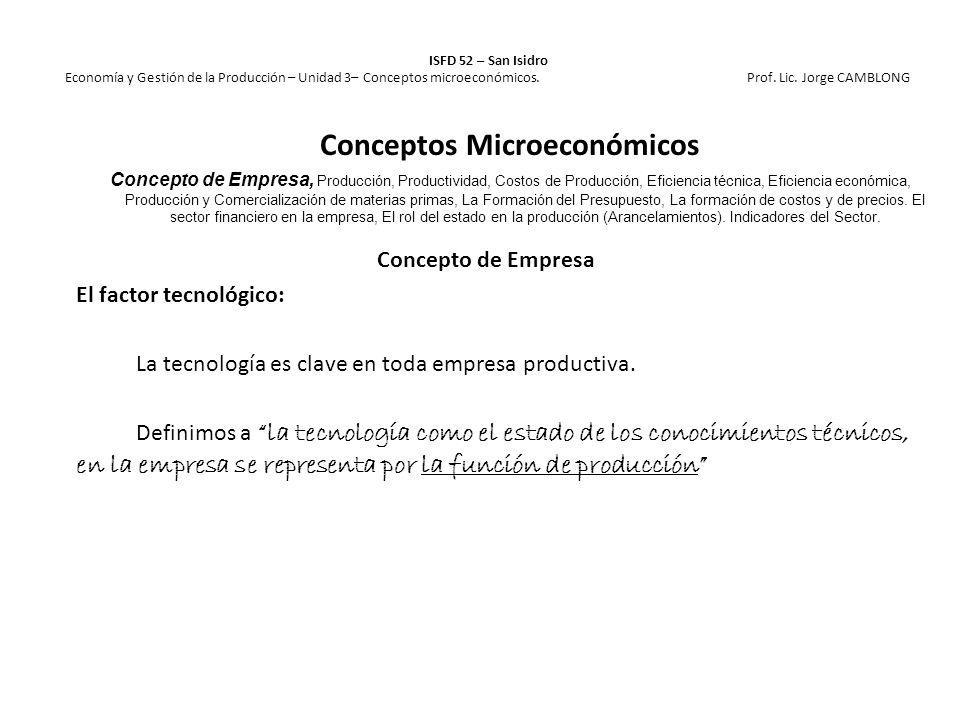ISFD 52 – San Isidro Economía y Gestión de la Producción – Unidad 3– Conceptos microeconómicos. Prof. Lic. Jorge CAMBLONG Concepto de Empresa El facto