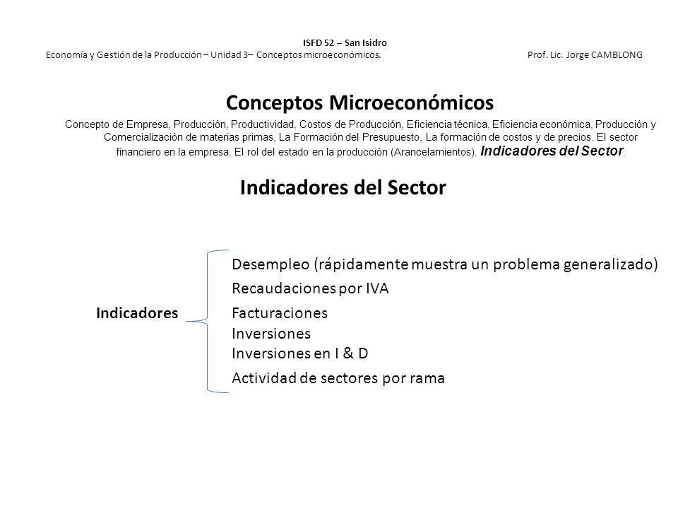 Indicadores del Sector Desempleo (rápidamente muestra un problema generalizado) Recaudaciones por IVA Indicadores Facturaciones Inversiones Inversione