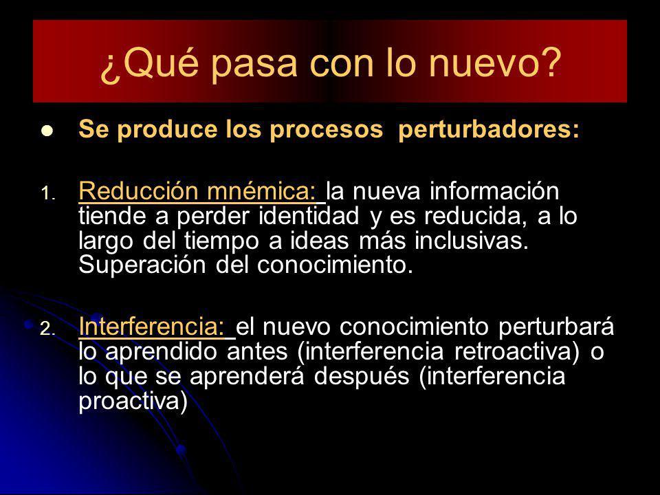¿Qué pasa con lo nuevo? Se produce los procesos perturbadores: 1. 1. Reducción mnémica: la nueva información tiende a perder identidad y es reducida,