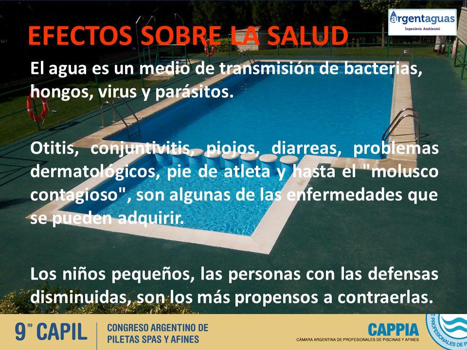 EFECTOS SOBRE LA SALUD El agua es un medio de transmisión de bacterias, hongos, virus y parásitos. Otitis, conjuntivitis, piojos, diarreas, problemas