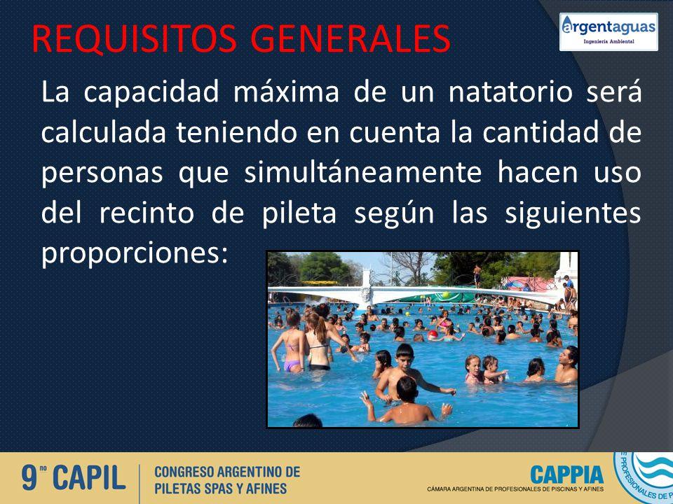 REQUISITOS GENERALES La capacidad máxima de un natatorio será calculada teniendo en cuenta la cantidad de personas que simultáneamente hacen uso del r