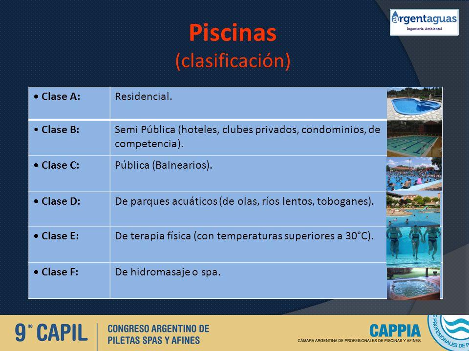 Piscinas (clasificación) Clase A:Residencial. Clase B:Semi Pública (hoteles, clubes privados, condominios, de competencia). Clase C:Pública (Balneario