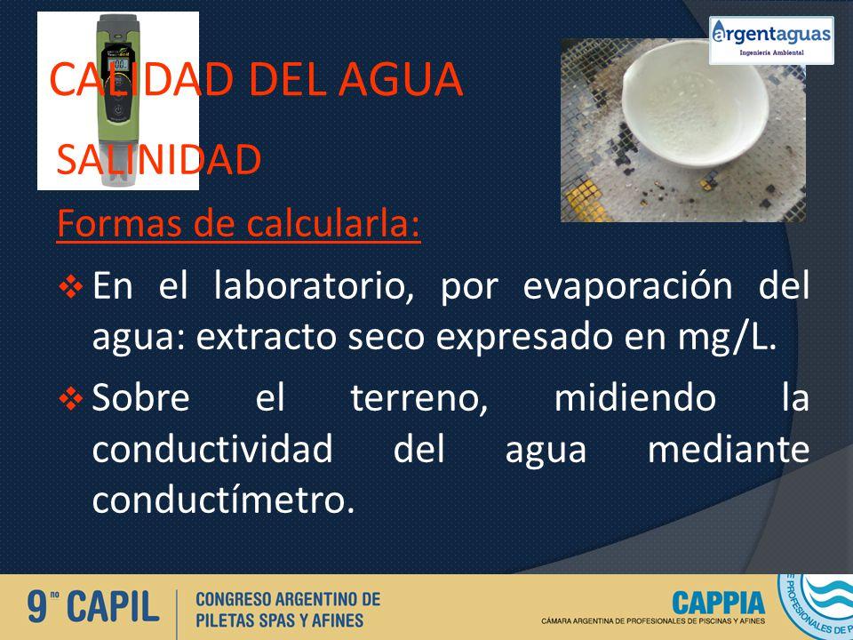 CALIDAD DEL AGUA SALINIDAD Formas de calcularla: En el laboratorio, por evaporación del agua: extracto seco expresado en mg/L. Sobre el terreno, midie