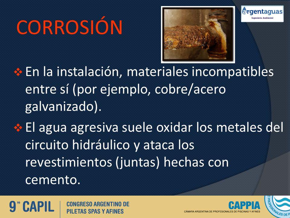 CORROSIÓN En la instalación, materiales incompatibles entre sí (por ejemplo, cobre/acero galvanizado). El agua agresiva suele oxidar los metales del c