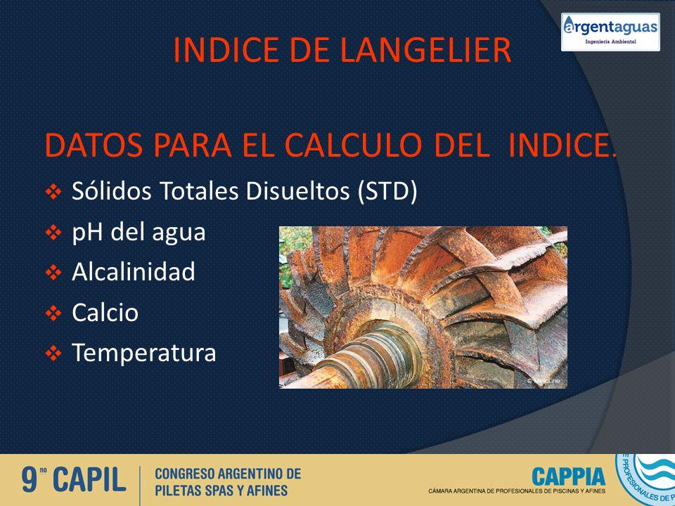 INDICE DE LANGELIER DATOS PARA EL CALCULO DEL INDICE. Sólidos Totales Disueltos (STD) pH del agua Alcalinidad Calcio Temperatura