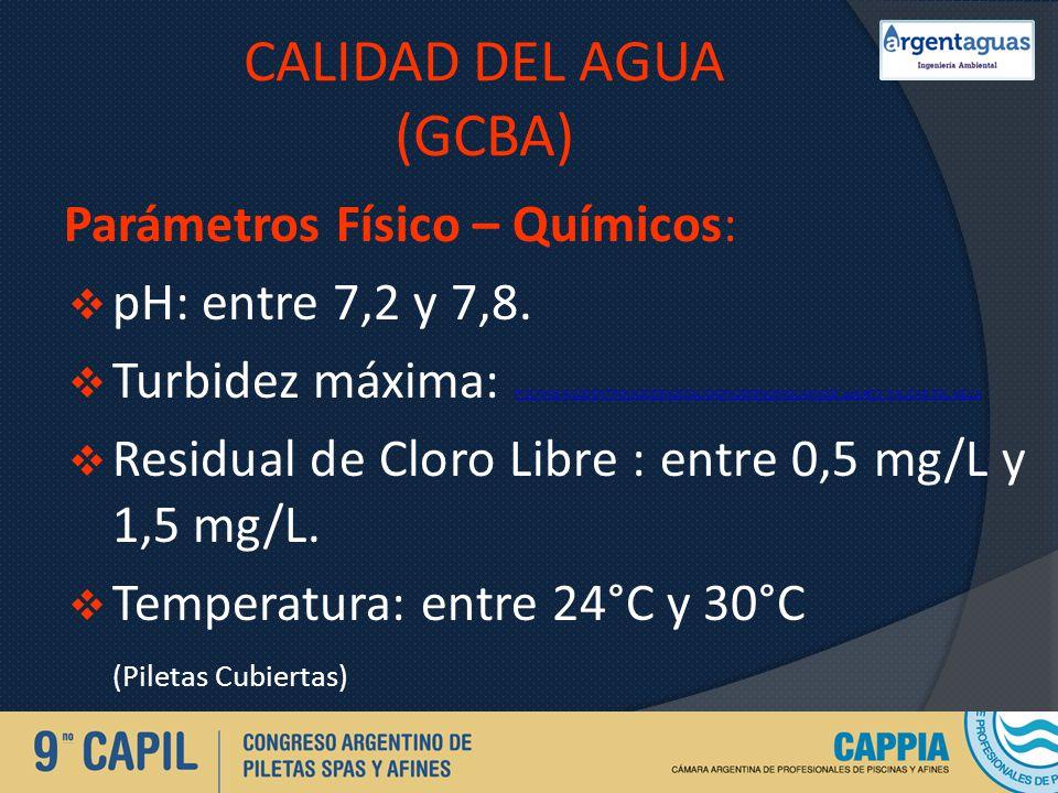 CALIDAD DEL AGUA (GCBA) Parámetros Físico – Químicos: pH: entre 7,2 y 7,8. Turbidez máxima: PISCINAS-%20CONTROL%20DE%20CALIDAD%20DE%20AGUAS%20C.pptx#3