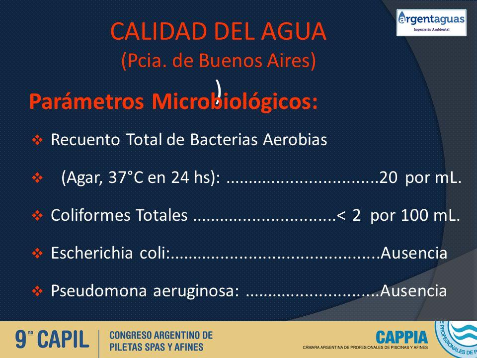 CALIDAD DEL AGUA (Pcia. de Buenos Aires) ) Parámetros Microbiológicos: Recuento Total de Bacterias Aerobias (Agar, 37°C en 24 hs):....................
