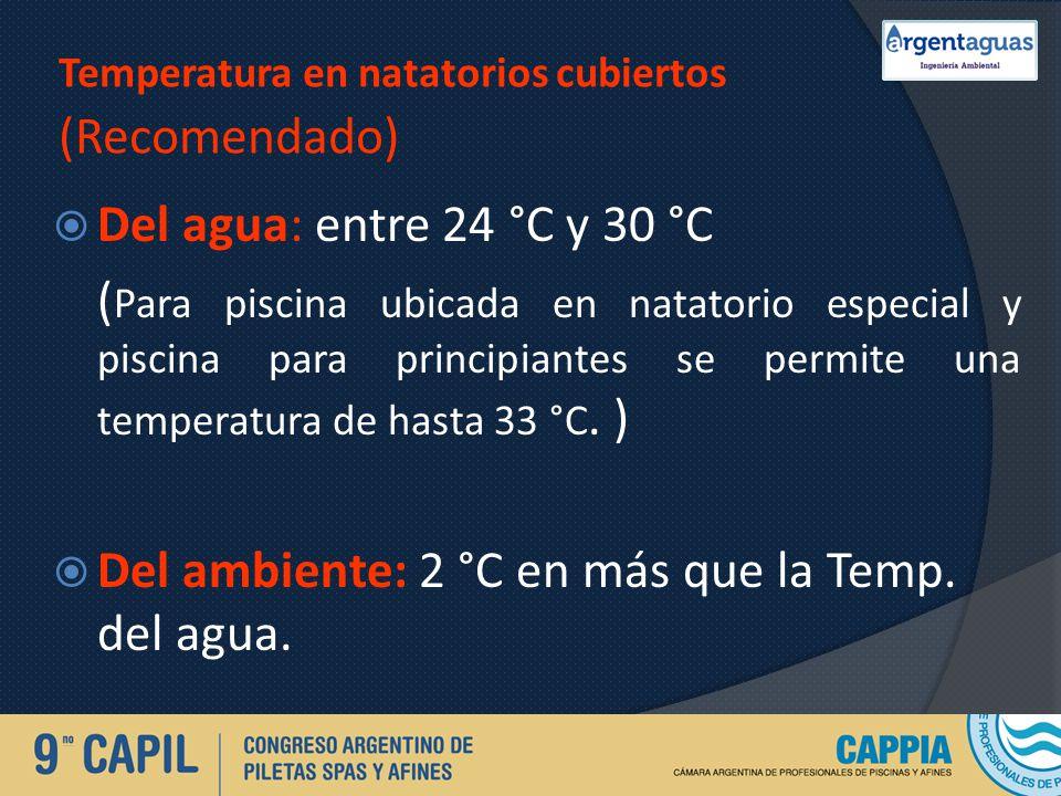 Temperatura en natatorios cubiertos (Recomendado) Del agua: entre 24 °C y 30 °C ( Para piscina ubicada en natatorio especial y piscina para principian
