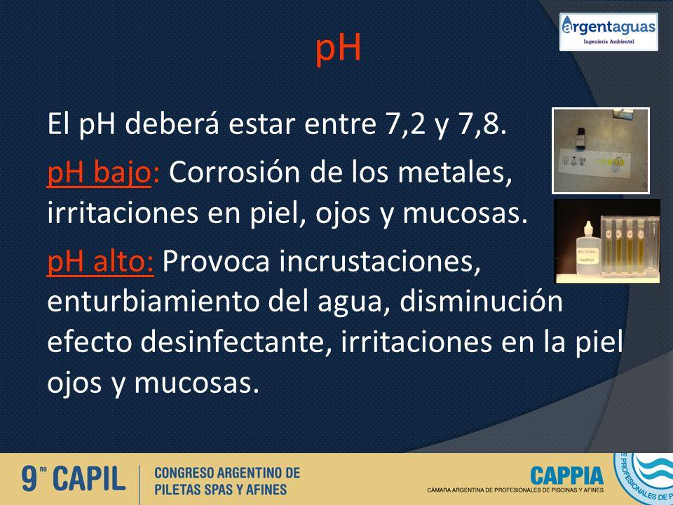 pH El pH deberá estar entre 7,2 y 7,8. pH bajo: Corrosión de los metales, irritaciones en piel, ojos y mucosas. pH alto: Provoca incrustaciones, entur