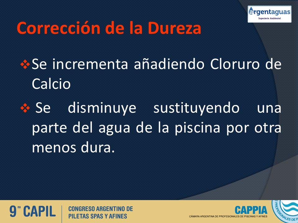 Corrección de la Dureza Se incrementa añadiendo Cloruro de Calcio Se disminuye sustituyendo una parte del agua de la piscina por otra menos dura.