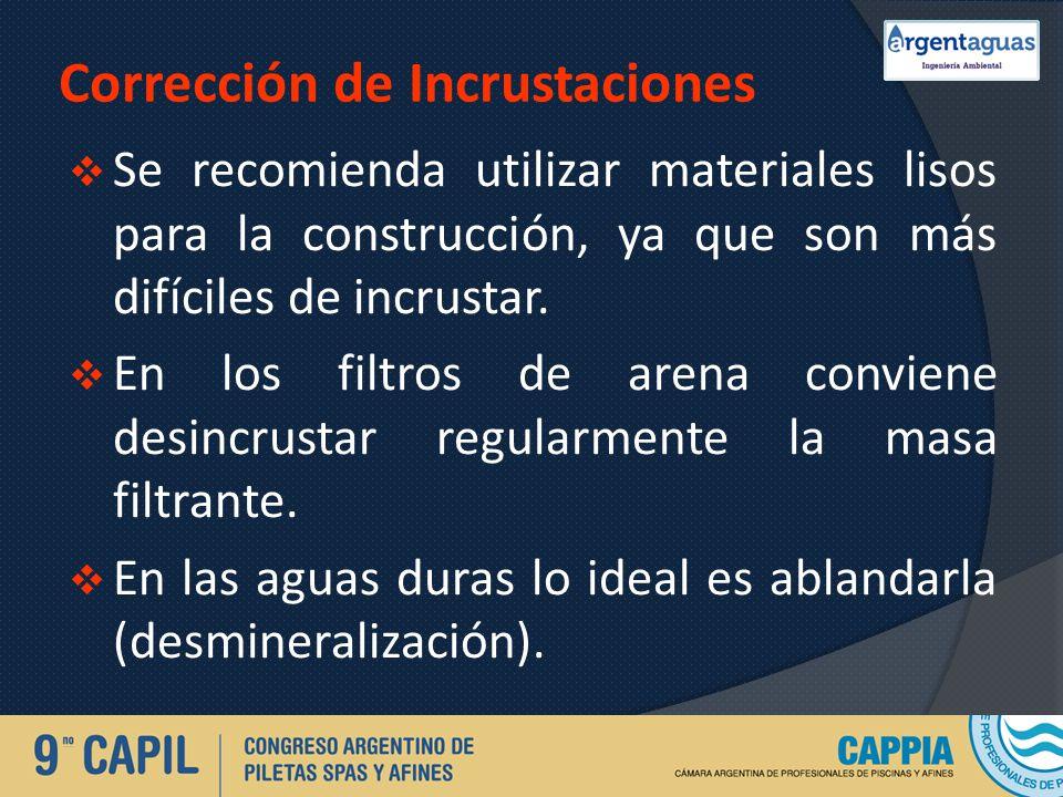 Corrección de Incrustaciones Se recomienda utilizar materiales lisos para la construcción, ya que son más difíciles de incrustar. En los filtros de ar