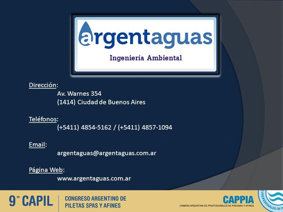 Dirección: Av. Warnes 354 (1414) Ciudad de Buenos Aires Teléfonos: (+5411) 4854-5162 / (+5411) 4857-1094 Email: argentaguas@argentaguas.com.ar Página