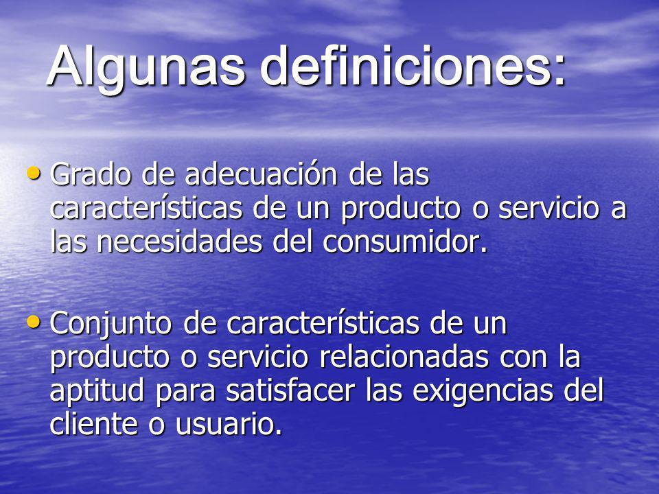 Algunas definiciones: Grado de adecuación de las características de un producto o servicio a las necesidades del consumidor.