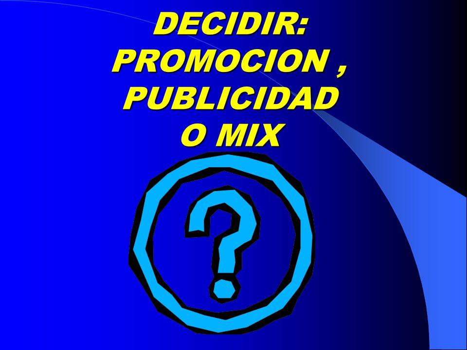 DECIDIR: PROMOCION, PUBLICIDAD O MIX