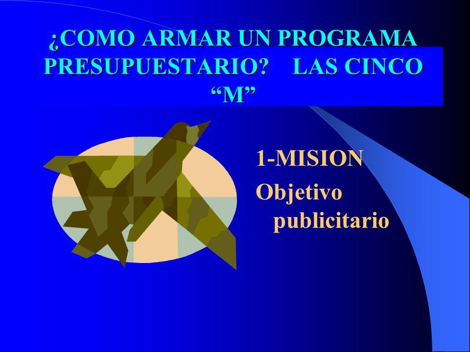 ¿COMO ARMAR UN PROGRAMA PRESUPUESTARIO LAS CINCO M 1-MISION Objetivo publicitario