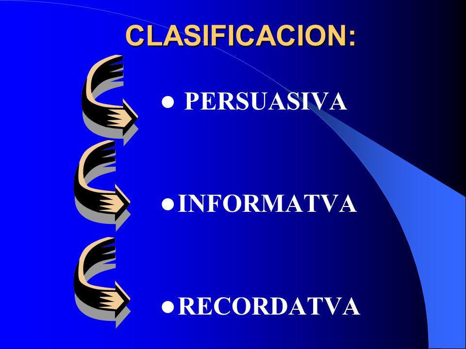 CLASIFICACION: CLASIFICACION: PERSUASIVA INFORMATVA RECORDATVA