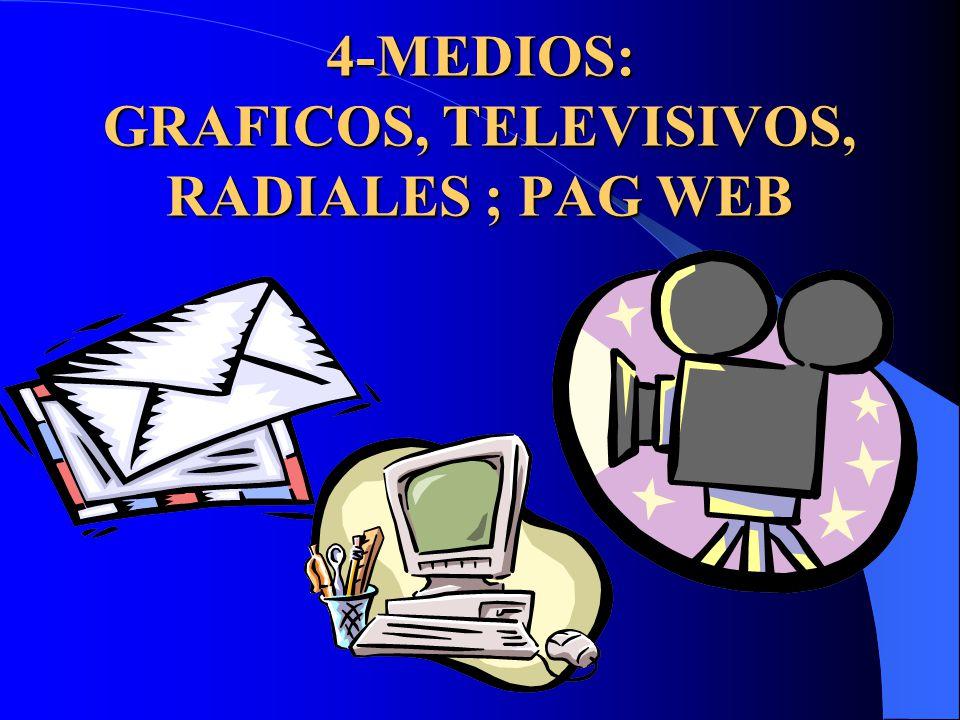 4-MEDIOS: GRAFICOS, TELEVISIVOS, RADIALES ; PAG WEB