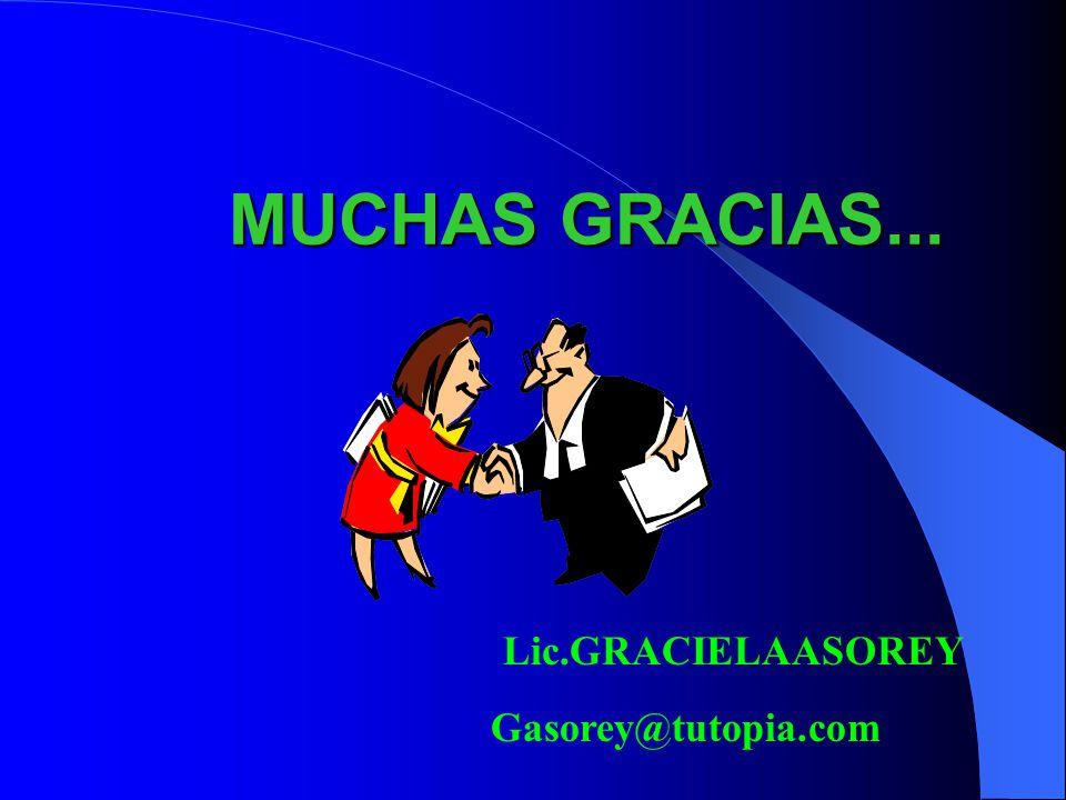 MUCHAS GRACIAS... Lic.GRACIELAASOREY Gasorey@tutopia.com