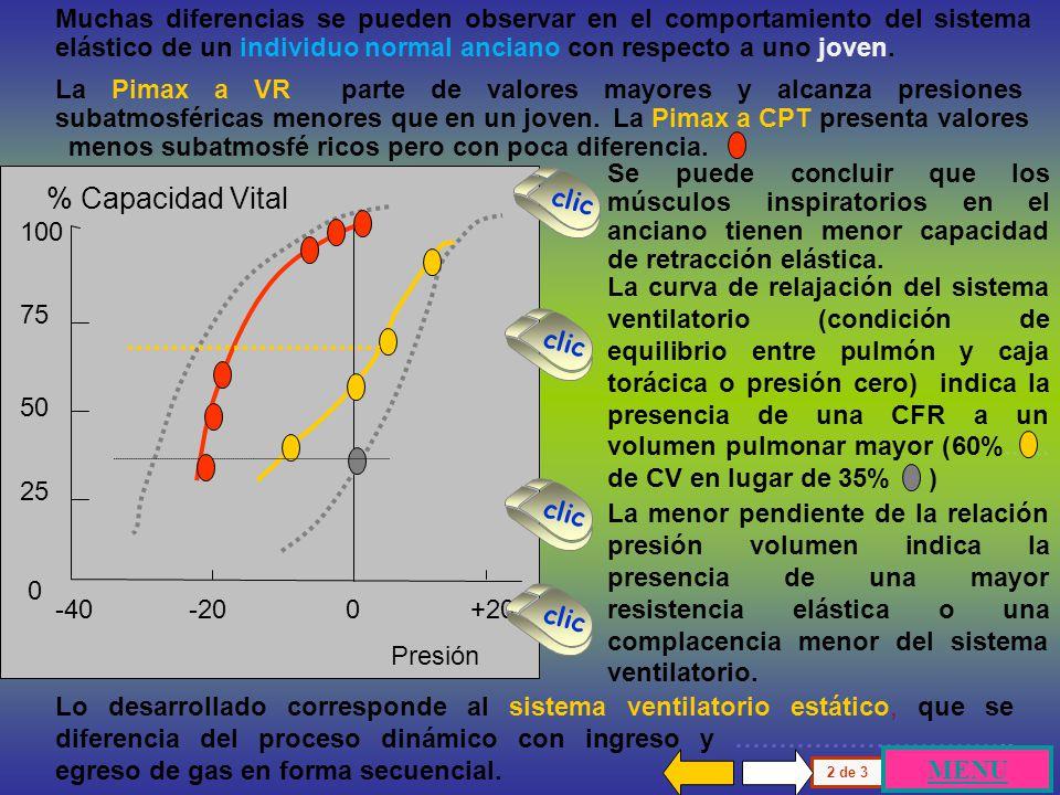 100 75 50 25 0 % Capacidad Vital Presión -100 -50 0 +50 +100 Existe otra manera de graficar el ciclo ventilatorio con la relación entre volumen en ord