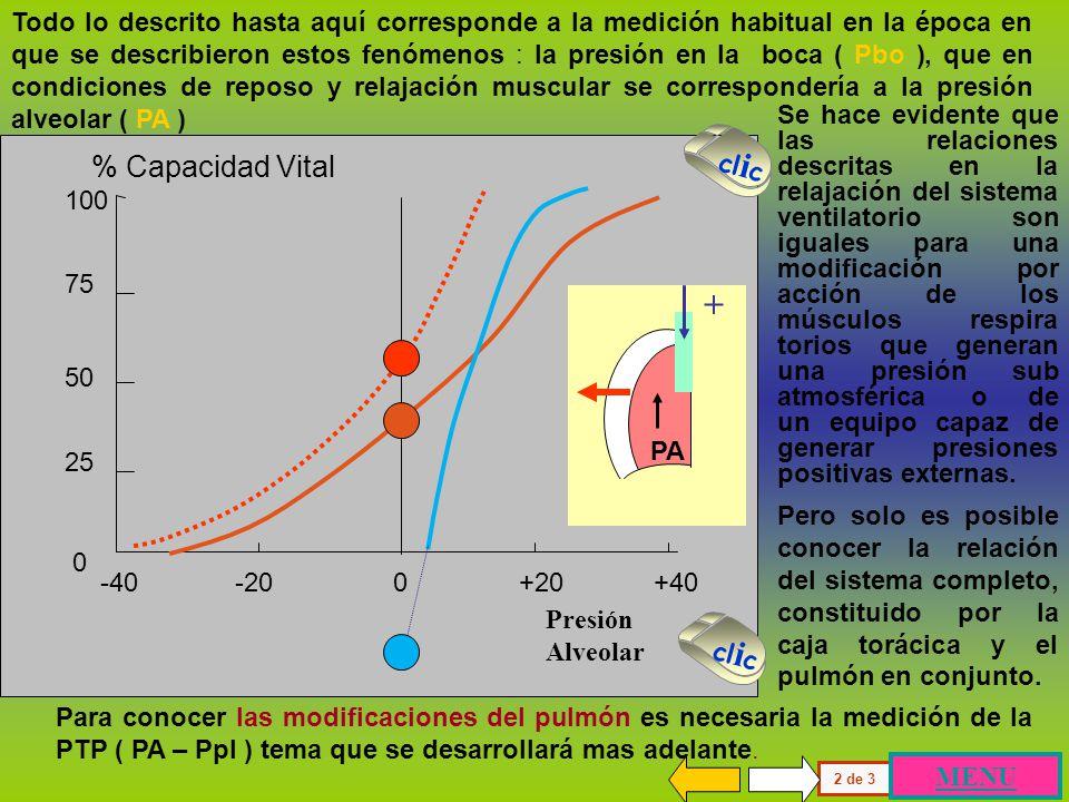 100 75 50 25 0 % Capacidad Vital Presión Alveolar -40 -20 0 +20 +40 Caja torácica Pulmón Relación presión-volumen estática Sistema ventilatorio Condic